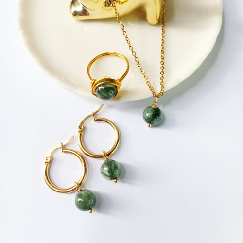 Seraphinite Set- necklace, earrings, ring