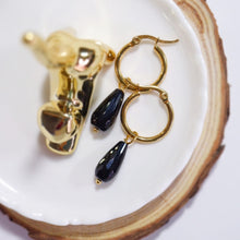 Onyx Teardrop Hoop Earrings