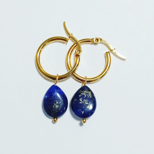 Lapis Lazuli Teardrop Hoop Earrings