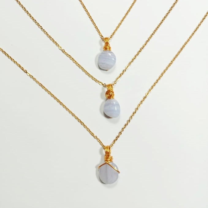 Free-Form Blue Lace Agate Necklace
