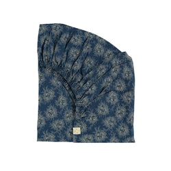 Camomile London Organic Fitted Sheet - Spot Floral Indigo | MINIOKE