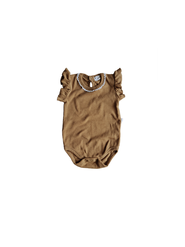 Organic Frill Bodysuit - Honey