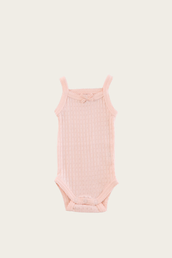 Organic Cotton Essential Pointelle Singlet Bodysuit - Peach