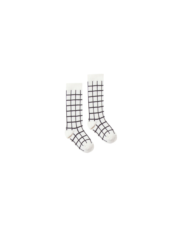 Rylee + Cru Check Socks - Black/Ivory