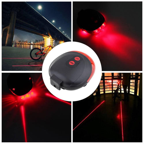 Accessories - 7 Flash Mode Bicycle Light - 5 LED/2 Laser Lights