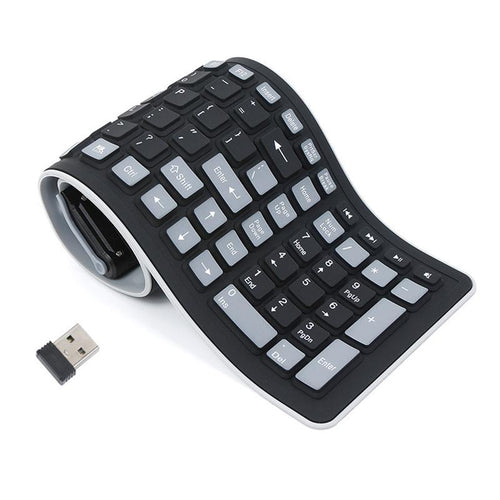 Gadgets - 2.4G Silicone Rubber Waterproof Wireless Keyboard