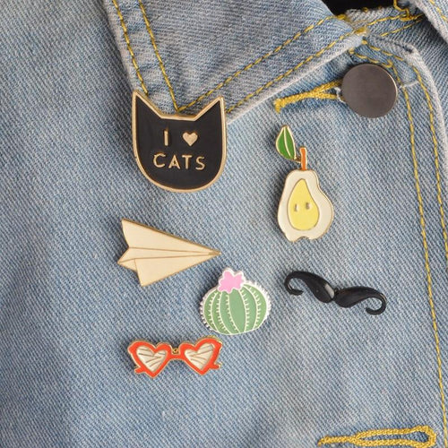 Novelty Items - I Love CATS | 6 Pcs Badge Set
