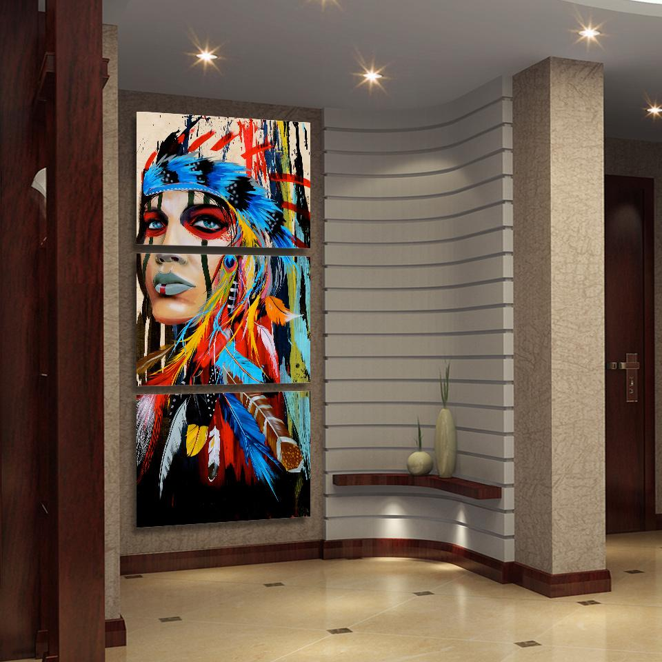 Fierce Warrior - 3-piece HD Printed Wall Painting