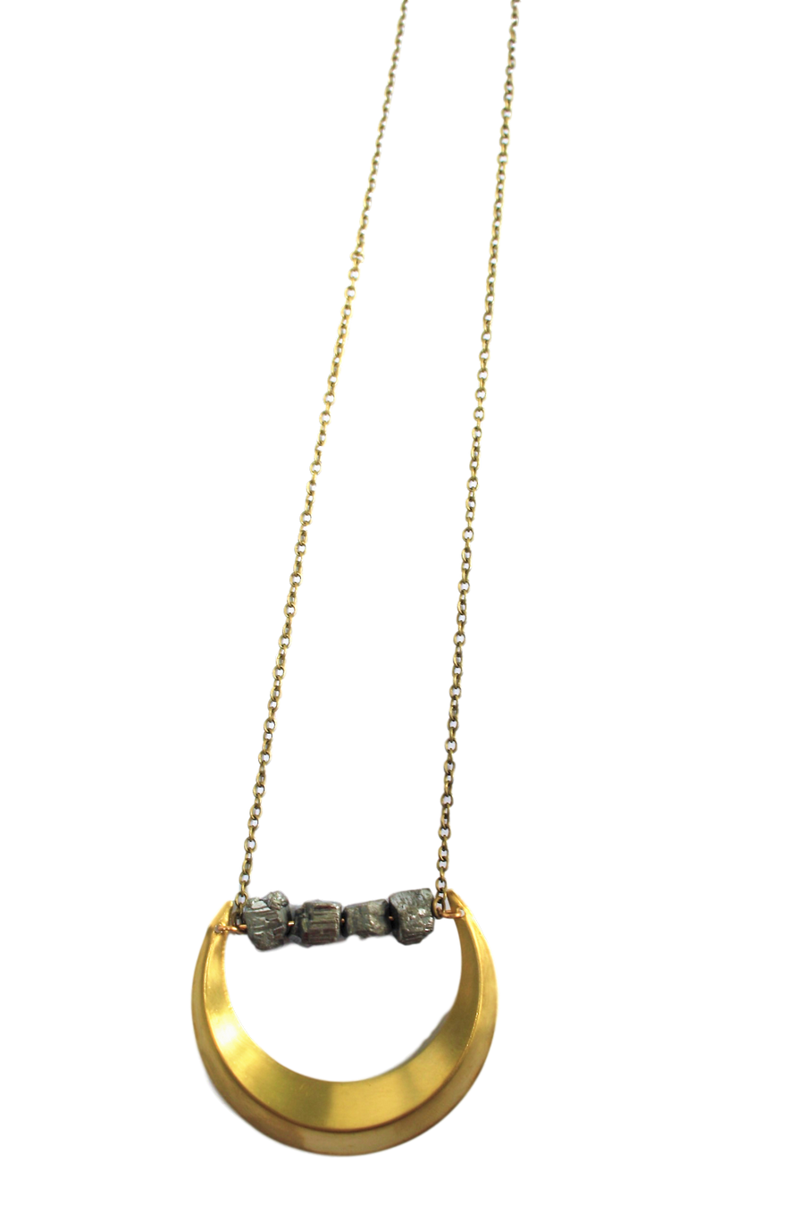 Large Pyrite Crescent Necklace