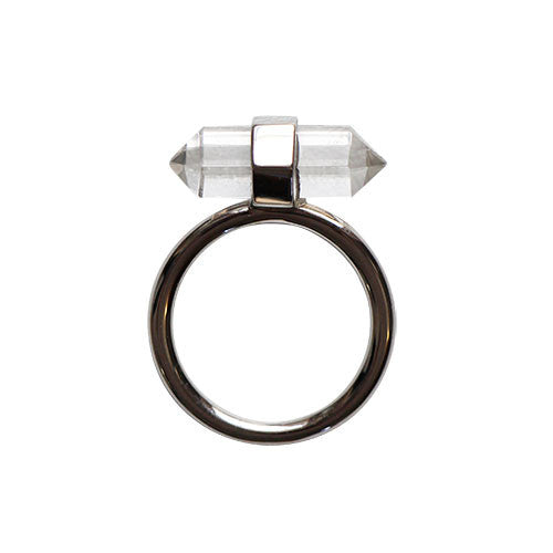 Silver-Double-Point-Clear-Quarts-Crystal-Ring
