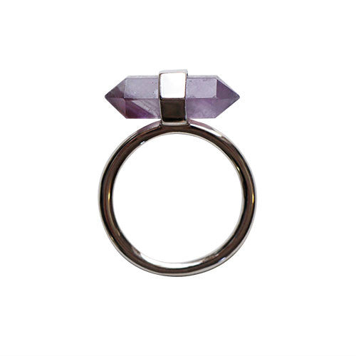 Silver-Double-Point-Purple-Quarts-Crystal-Ring