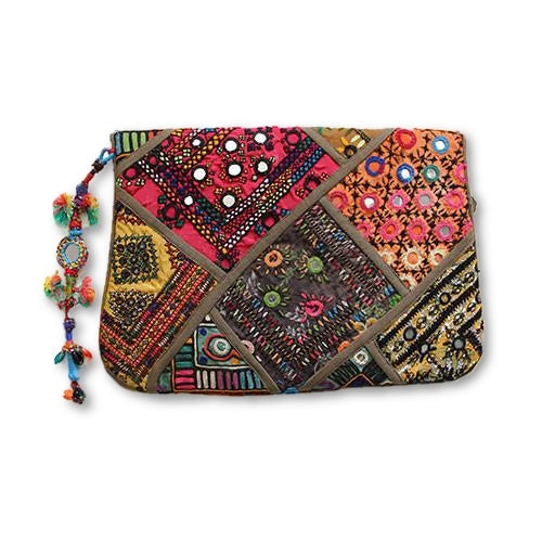 Khaki Festival Clutch - SEA SUN FOLK