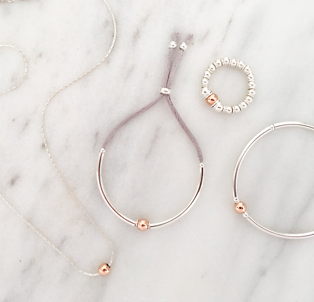 Simplicity Bracelet in Sterling Silver + Rose Gold Plated Sterling Silver Bead
