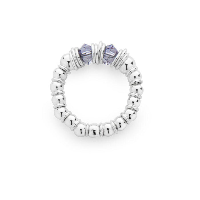 Fluidity Flexi Ring in Silver and Swarovski + Grey/Mauve