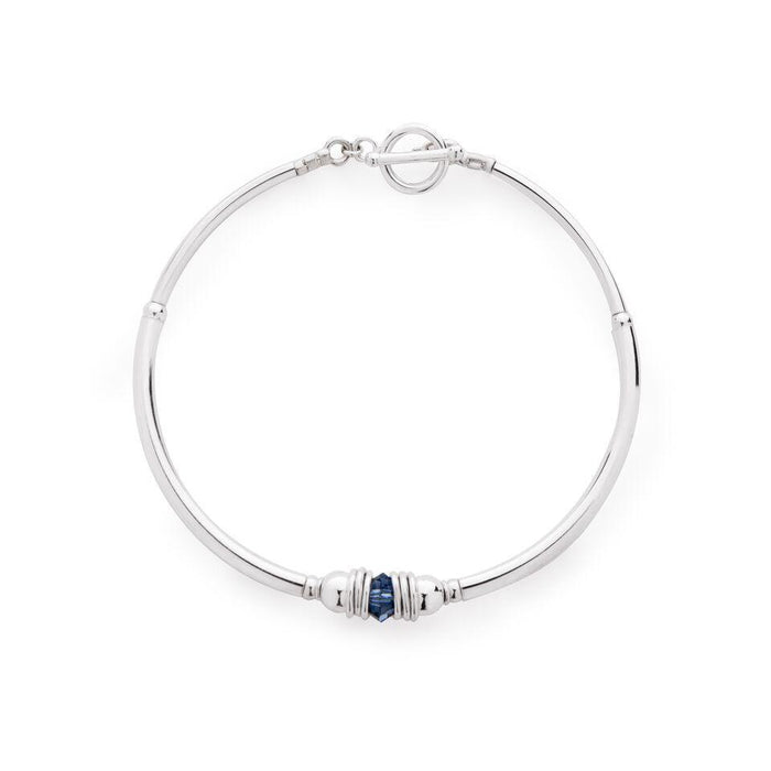 Purity Bracelet in Silver with Swarovski Crystal + Navy Blue