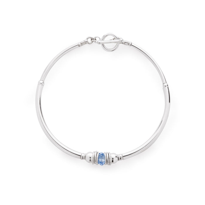 Sterling Silver and Swarovski Crystal elements Purity Bracelet - Sapphire Blue