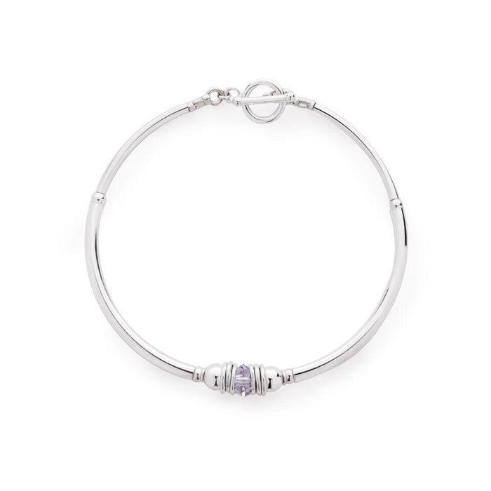 Sterling Silver and Swarovski Crystal elements Purity Bracelet - Grey/Mauve