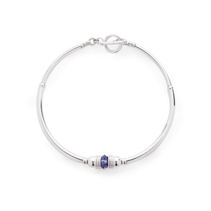 Purity Bracelet in Silver with Swarovski Crystal + Violet Blue