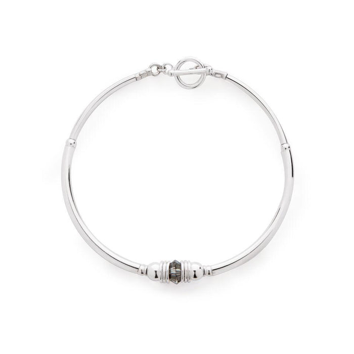 Purity Bracelet in Silver with Swarovski Crystal + Khaki Grey