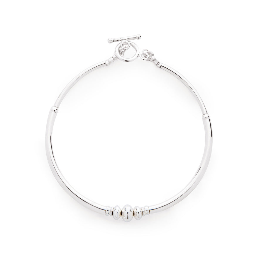 Simplicity Triple Bead Bracelet in Sterling Silver