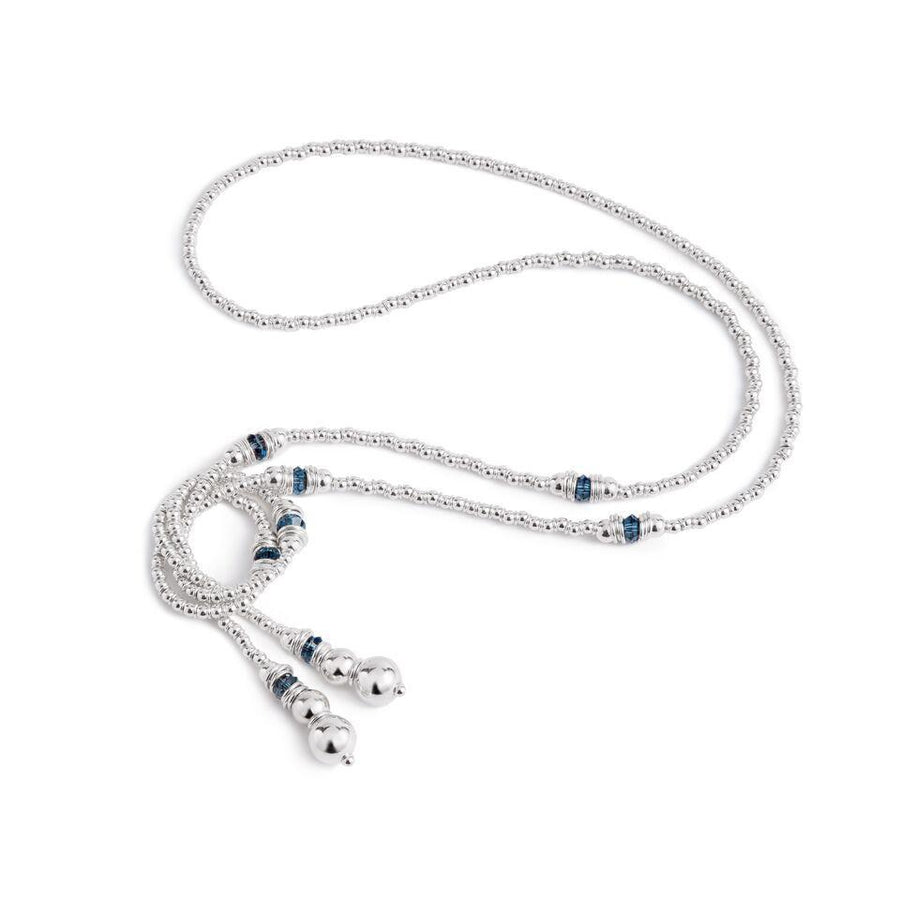 Fluidity Lariat in Silver and Swarovski + Navy Blue