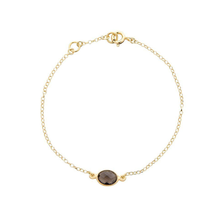 Gold Plated Smoky Quartz Gemstone Bracelet