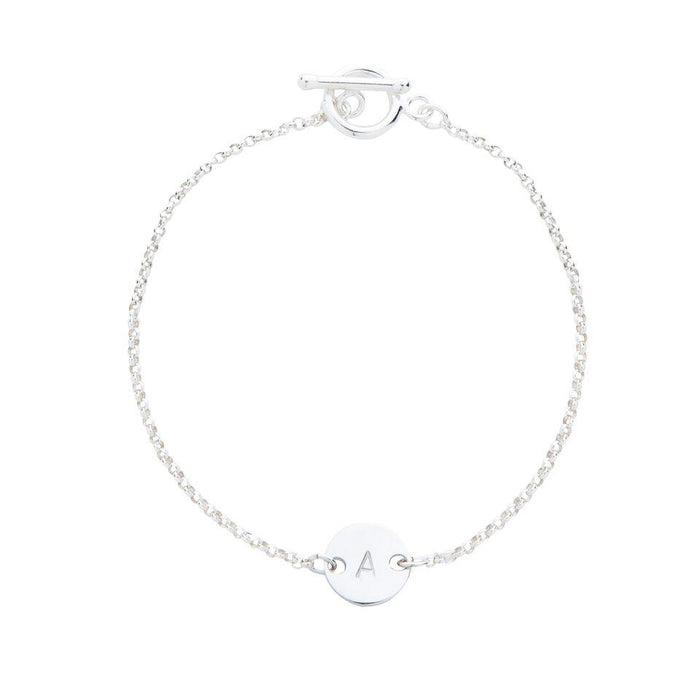 Sterling Silver Personalised Initial Disc Bracelet