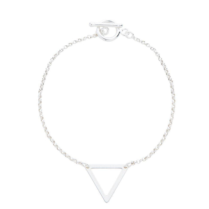 Geometric Triangle Bracelet in Silver