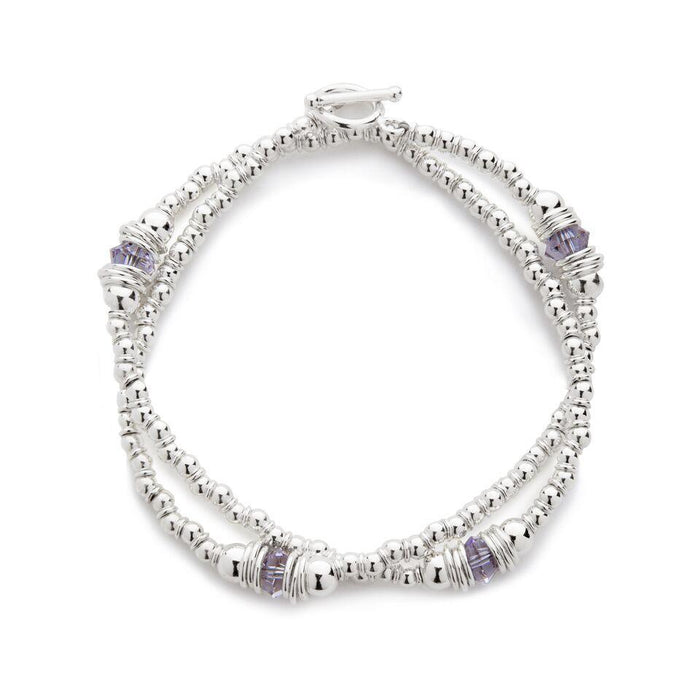 Cluster Bracelet in Silver with Swarovski Crystal + Grey/Mauve