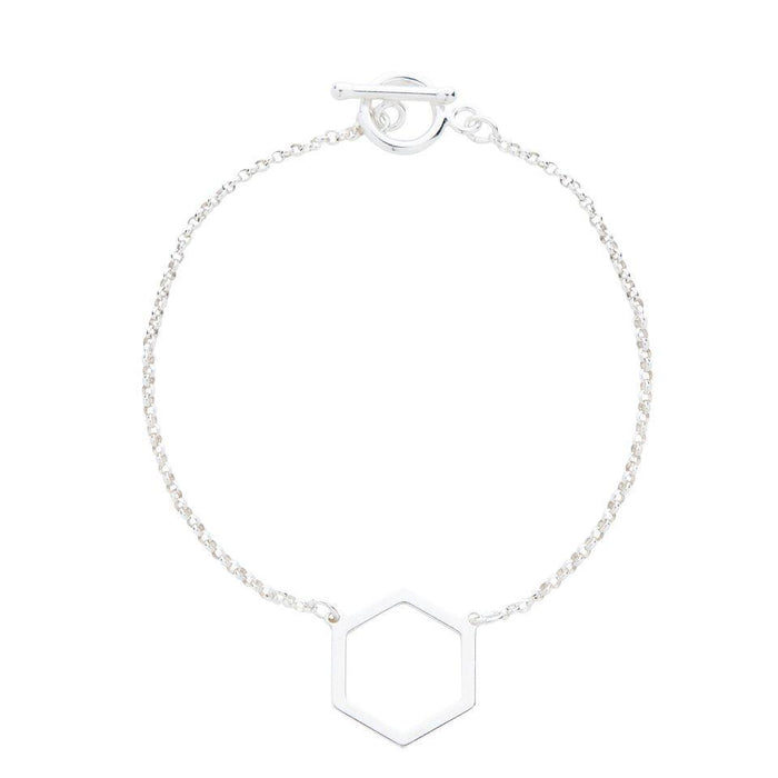 Geometric Hexagon Bracelet in Silver