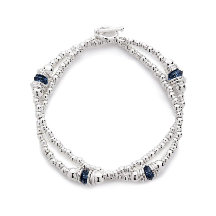 Cluster Bracelet in Silver with Swarovski Crystal + Navy Blue