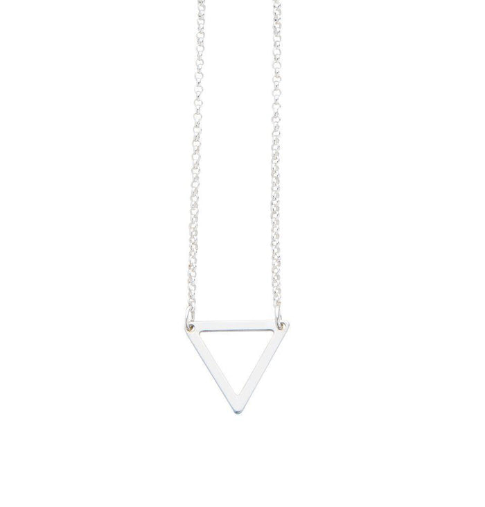 Geometric Triangle Necklace in Silver