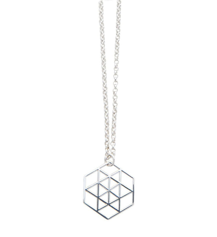 Sterling Silver Geometric Star Necklace