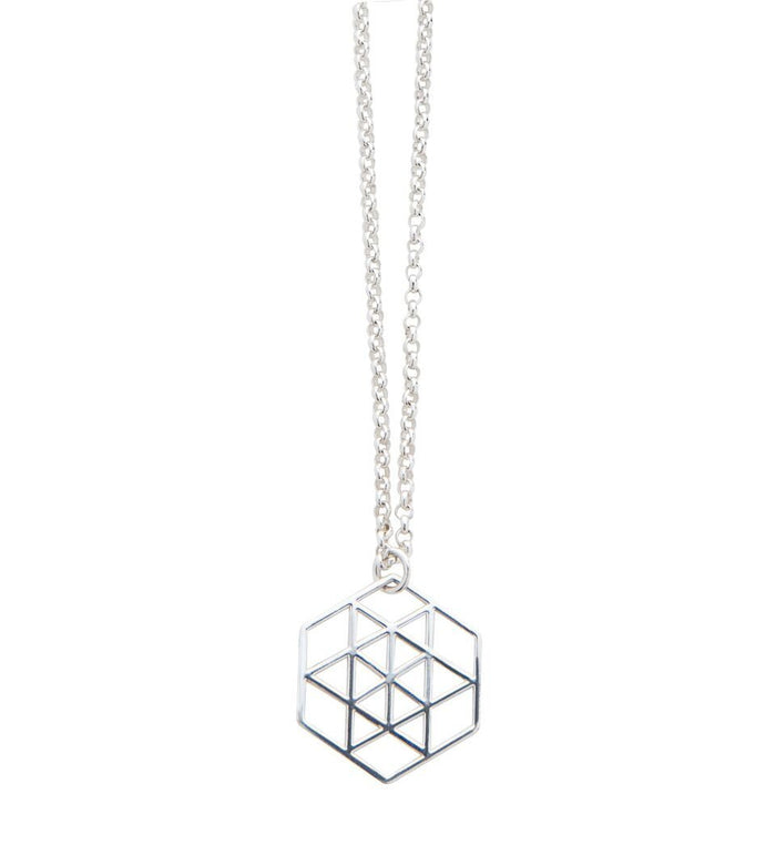 Geometric Star Necklace in Silver