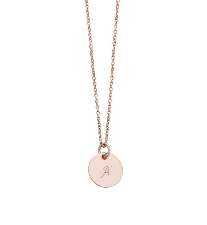 Personalised Initial Disc Charm Necklace in Rose Gold Plated Sterling Silver