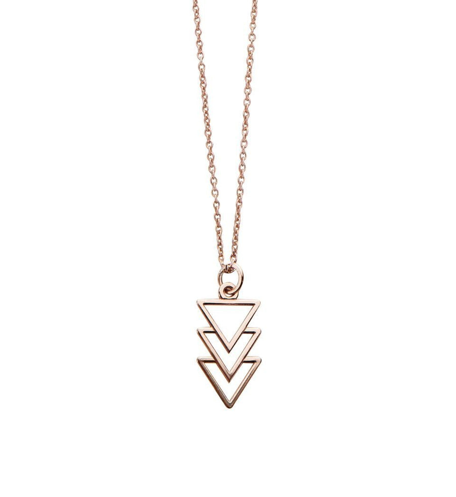 Triple Triangle Necklace in Rose Gold