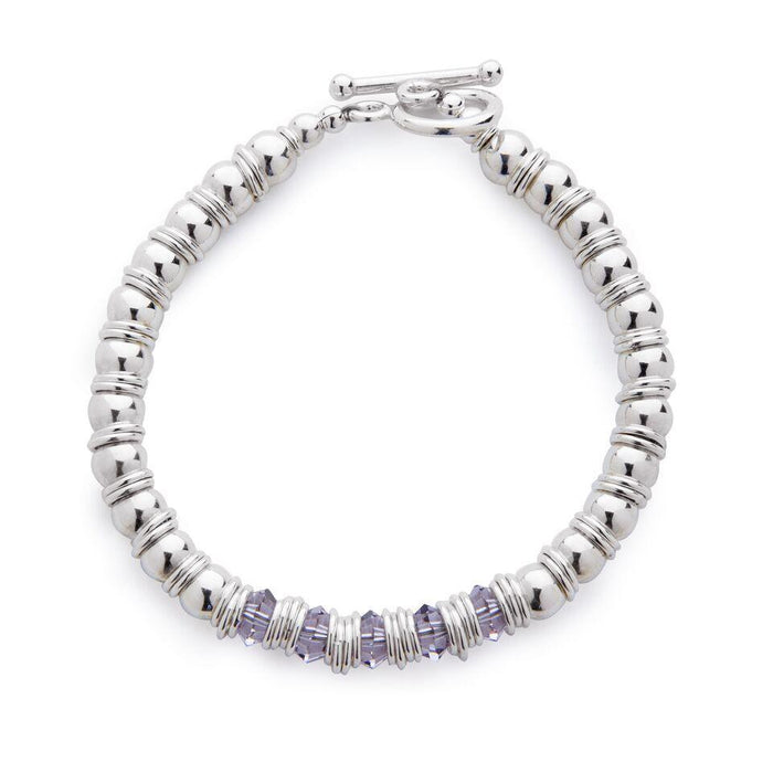 Fluidity Bracelet in Silver and Swarovski + Grey/Mauve