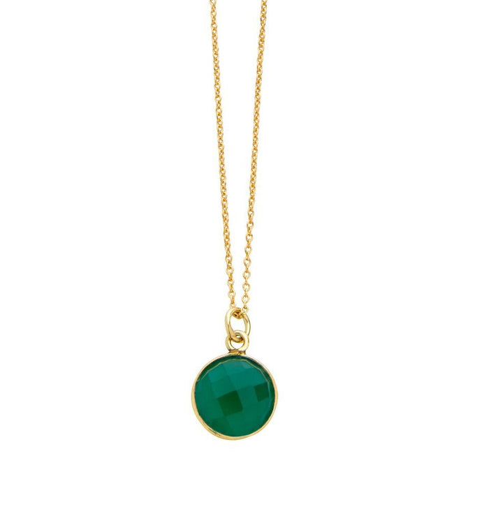 Gold Plated Green Onyx Gemstone Pendant Necklace