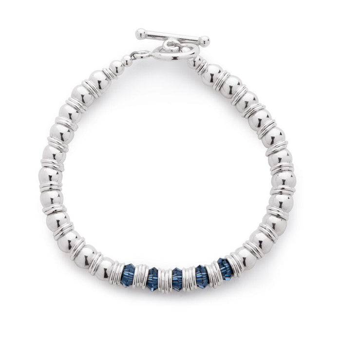 Fluidity Bracelet in Silver and Swarovski + Navy Blue