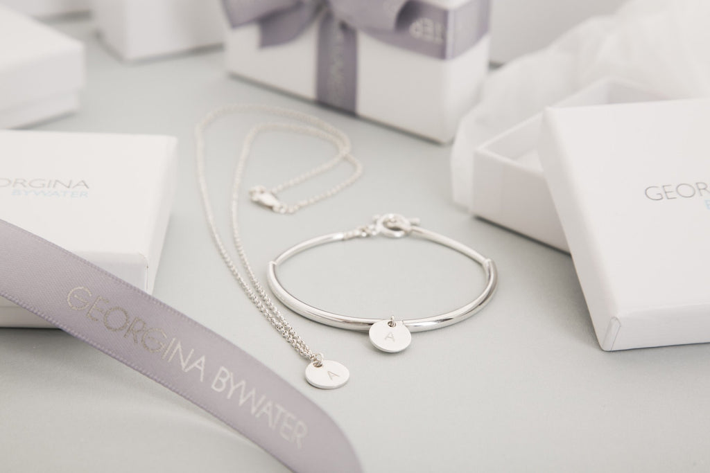 Personalised Initial Simplicity Bracelet in Silver