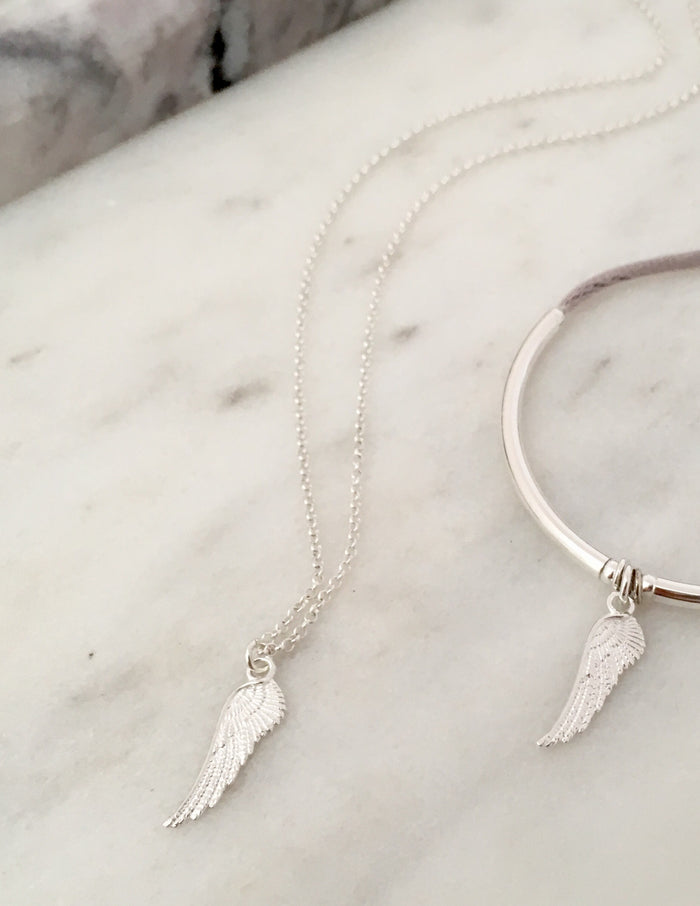Angel Wing Necklace in Silver - Single Wing