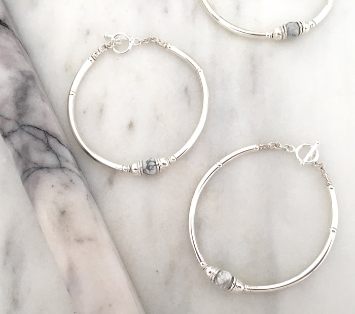 Purity Bracelet in Silver + Howlite