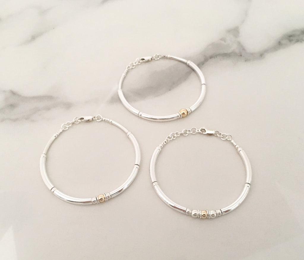 New Simplicity Bracelet in Sterling Silver + 14ct Yellow Gold 5mm Bead