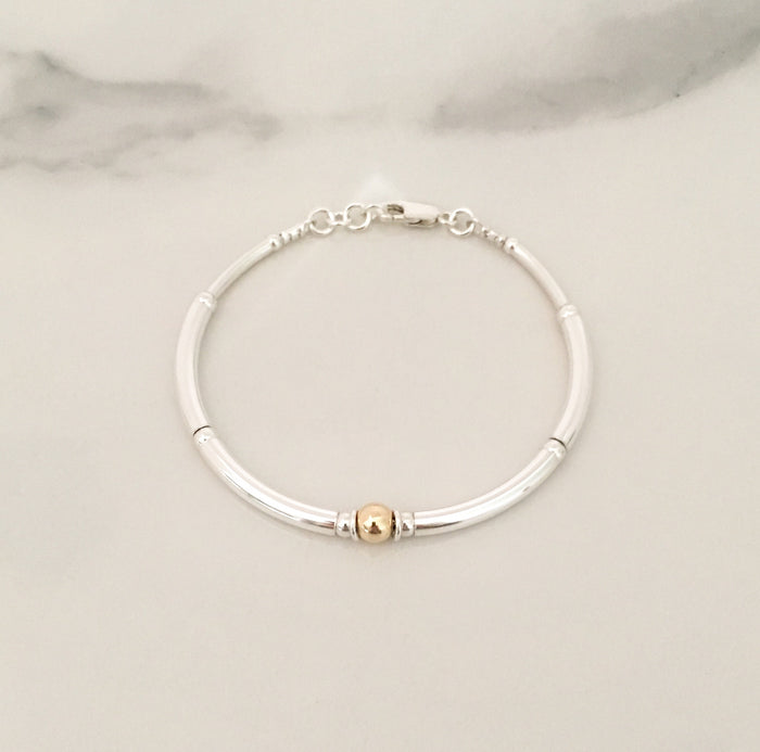 New Simplicity Bracelet in Sterling Silver + 14ct Yellow Gold 6mm Bead