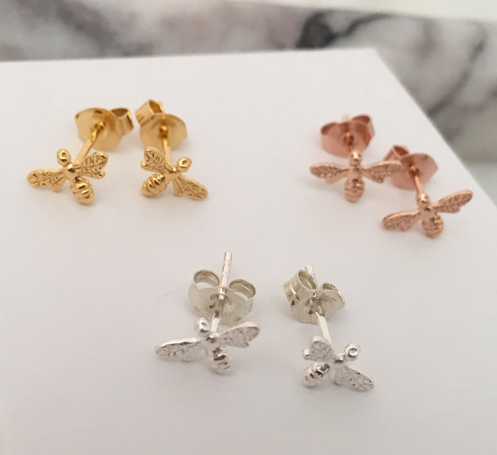 Bee Stud Earrings in Sterling Silver + Rose Gold Plated Sterling Silver + Gold Plated Sterling Silver