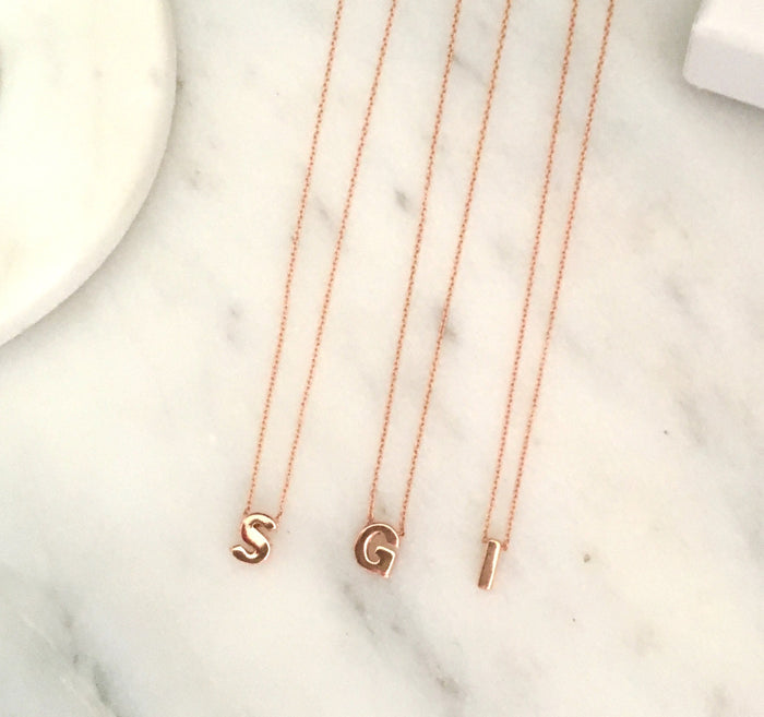 Initial Necklace in Rose Gold Plated Sterling Silver