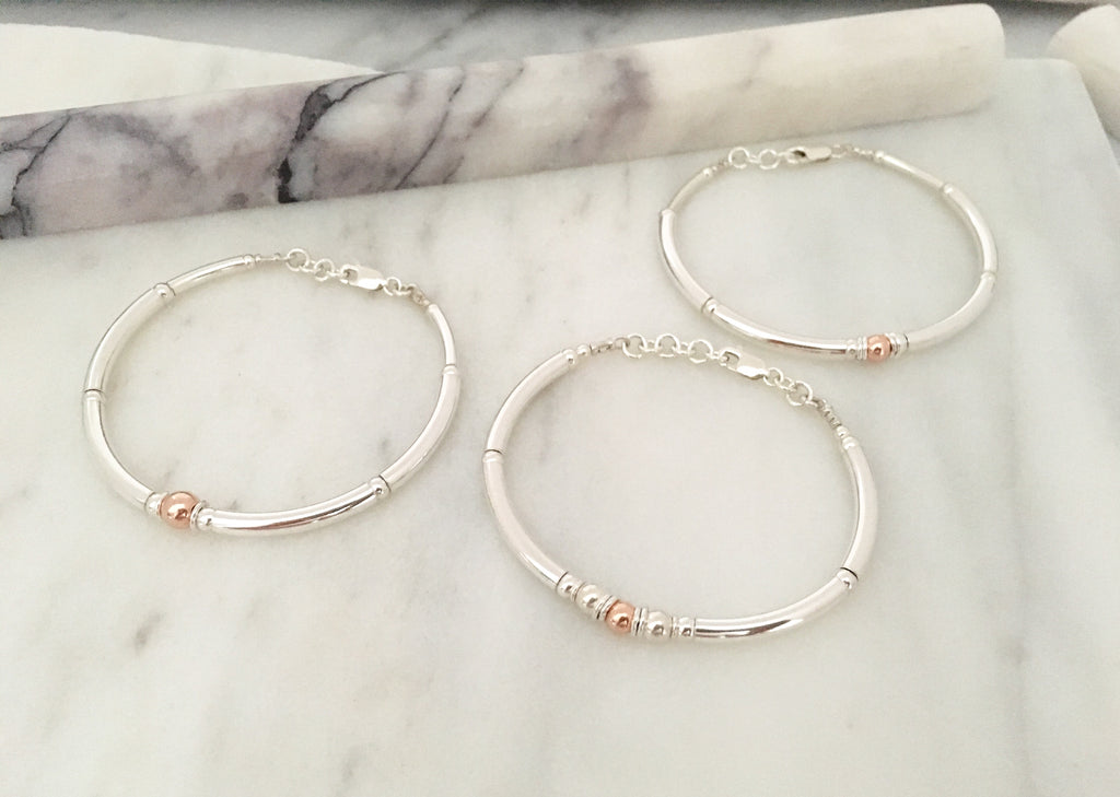 New Simplicity Bracelet in Sterling Silver + 5mm Rose Gold Plated Sterling Silver Bead