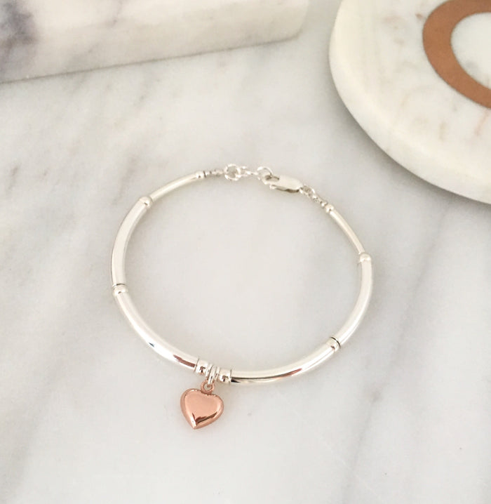 Simplicity Bracelet in Silver + Rose Gold Plated Sterling Silver Heart Charm Simplicity Bracelet