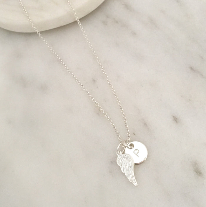 Personalised Angel Wing Initial Necklace in Silver