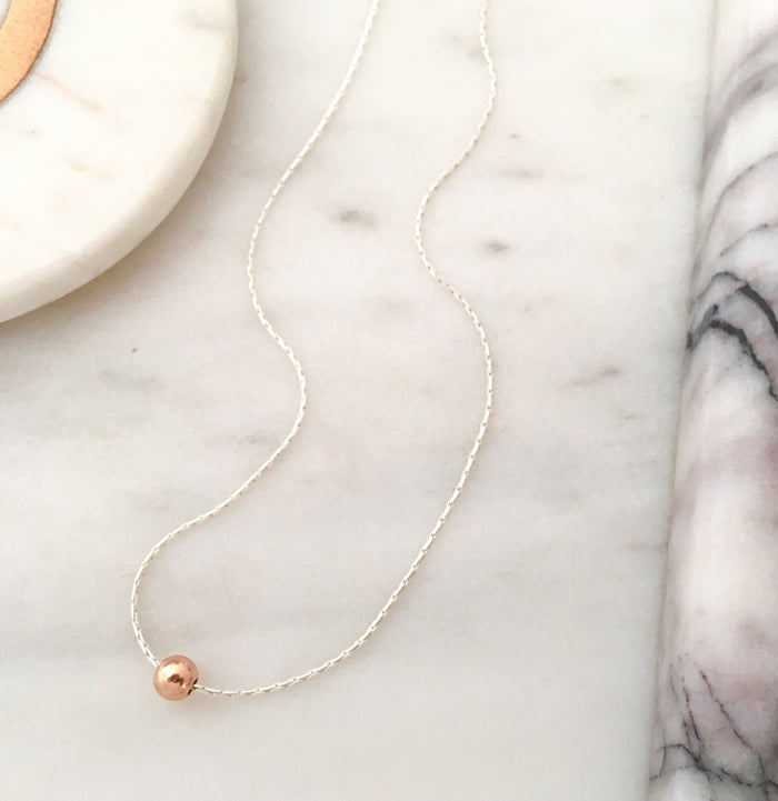 Simplicity Bead Necklace in Silver + Rose Gold